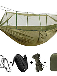 cheap -Camping Hammock with Mosquito Net Double Hammock Outdoor Portable Breathable Anti-Mosquito Parachute Nylon with Carabiners and Tree Straps for 2 person Hunting Hiking Beach Fruit Green Yellow & Green