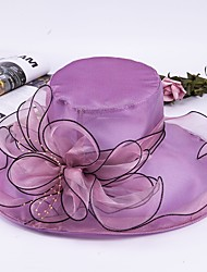 cheap -Tulle / Beaded / Organza Hats / Headwear with Pearl / Cap / Cascading Ruffles 1pc Daily Wear / Outdoor / Horse Race Headpiece