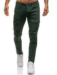 cheap -Men's Basic / Street chic Daily Weekend Slim Sweatpants Pants - Solid Colored Hole Fall Winter Black Army Green L XL XXL