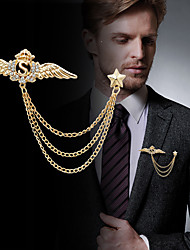 cheap -Men's Cubic Zirconia Brooches Stylish Link / Chain Creative Wings Statement Fashion British Brooch Jewelry Gold Silver For Party Daily