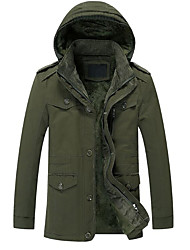 cheap -Men's Daily Street chic Solid Colored Plus Size Regular Parka, Cotton / Polyester Long Sleeve Winter Hooded Black / Army Green / Royal Blue US32 / UK32 / EU40 / US34 / UK34 / EU42 / US36 / UK36 / EU44