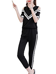cheap -Women's Tracksuit Cut Out Pocket Solid Color White Black Yellow Zumba Yoga Running High Waist Tee / T-shirt Capri Pants Clothing Suit Plus Size Short Sleeve Sport Activewear Breathable Sweat-wicking