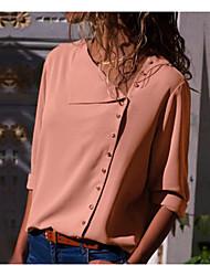 abordables -Chemise Femme, Couleur Pleine Basique Col de Chemise Ample Rose Poudré Bleu Marine / Automne