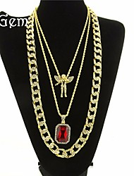 cheap -Men's Cubic Zirconia Synthetic Ruby High End Crystal Pendant Necklace Layered Necklace Long Necklace Rope Tennis Chain Head Angel Wings Statement European Hip-Hop Rhinestone Glass Alloy Black Wine