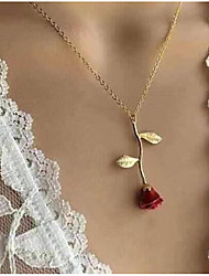 cheap -Women's Pendant Necklace Y Necklace Classic Stylish Roses Ladies Dangling Romantic Fashion Alloy Rose Gold Gold Silver Red 51 cm Necklace Jewelry 1pc For Going out Valentine