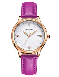 cheap -SANDA Women's Dress Watch Wrist Watch Japanese Quartz Leather Black / White / Red 30 m Water Resistant / Waterproof Calendar / date / day Noctilucent Analog Ladies Casual Fashion - Brown Red Pink
