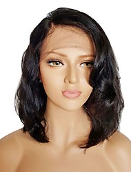 cheap -Synthetic Wig / Synthetic Lace Front Wig Wavy Kardashian Style Side Part Lace Front Wig Black Natural Black Dark Brown Synthetic Hair 14 inch Women's Adjustable / Heat Resistant / Natural Hairline