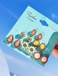 cheap -Women's Opal Crystal Stud Earrings Earrings Set Vintage Style Drop Flower Ladies Bohemian Fashion Earrings Jewelry Rainbow For Birthday Party / Evening 6 Pairs