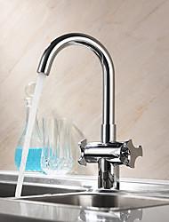 cheap -Kitchen faucet - Two Handles One Hole Chrome Standard Spout / Tall / High Arc Centerset Contemporary Kitchen Taps / Brass