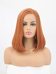 cheap -Synthetic Lace Front Wig Straight Side Part Lace Front Wig Long Orange Synthetic Hair 12-14 inch Women's Adjustable Heat Resistant Party Brown