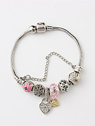 cheap -Women's Cuff Bracelet Bead Bracelet Stylish Beads Creative Heart Ladies Dangling Sweet Resin Bracelet Jewelry White / Pink / Light Blue For Date Holiday / Rhinestone