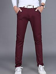 abordables -Homme Basique Quotidien Chino Pantalon - Couleur Pleine Coton Noir Vin Gris Clair 34 36 38