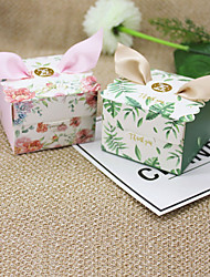 cheap -Cubic Card Paper Favor Holder with Ribbons Favor Boxes - 12pcs