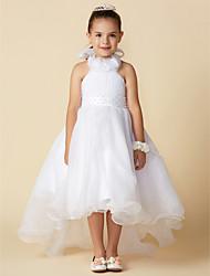 cheap -A-Line Asymmetrical Flower Girl Dress - Organza Sleeveless Halter Neck with Bow(s) / Pleats / First Communion