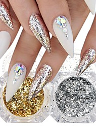 cheap -2 / box Gold Foil Glitter Powder Fashionable Design Luminous Glitters Retro Wedding Party Daily Wear for Finger Nail Toe Nail