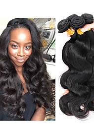 cheap -4 Bundles Indian Hair Body Wave Human Hair Unprocessed Human Hair Natural Color Hair Weaves / Hair Bulk Extension Bundle Hair 8-28 inch Natural Color Human Hair Weaves Hot Sale Thick Silk Base Hair