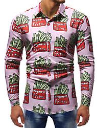 cheap -Men's Plus Size Color Block Print Slim Shirt Basic Street chic Club Weekend Blushing Pink / Long Sleeve