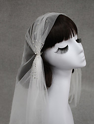 cheap -One-tier Euramerican Wedding Veil Fingertip Veils with Crystals / Rhinestones 47.24 in (120cm) Cotton / nylon with a hint of stretch / Angel cut / Waterfall