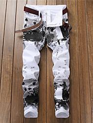 abordables -Homme Chic de Rue Sortie Mince Chino Pantalon - Géométrique Noir & Blanc, Imprimé Printemps Automne Blanche 34 36 38