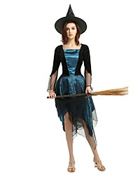 cheap -Witch Women's Adults' Halloween Halloween Carnival Masquerade Festival / Holiday Polyster Outfits Ink Blue Solid Colored Halloween
