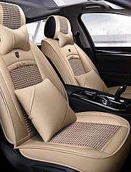 abordables -5 sièges avec deux oreillers et deux coussinets de taille Housse de siège auto universelle quatre saisons / en soie synthétique et compatibilité cuir / airbag / ajustable et amovible / beige