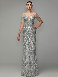 cheap -Sheath / Column V Neck Floor Length Sequined Elegant / Beaded & Sequin Prom / Formal Evening Dress with Beading / Sequins 2020