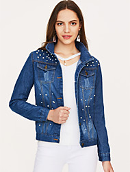 cheap -Women's Daily / Going out Spring / Fall Plus Size Short Denim Jacket, Solid Colored Peaked Lapel Long Sleeve Cotton Pure Color Blue