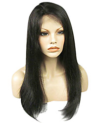 cheap -Virgin Human Hair Full Lace Wig Kardashian style Brazilian Hair Classic Yaki Straight Wig 130% 150% 180% Density 8-24 inch Natural Hairline Pre-Plucked Bleached Knots Women's Short Medium Length Long