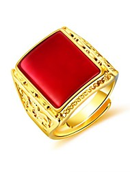 cheap -Men's Ring Signet Ring Synthetic Ruby 1pc Black Green Red 18K Gold Plated Copper Geometric Fashion Daily Evening Party Jewelry Stylish Creative Cool