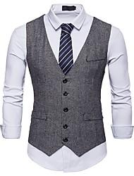 cheap -Men's Party / Work Basic Spring &  Fall Short Vest, Polka Dot Fantastic Beasts V Neck Short Sleeve Polyester Black / Gray / Khaki / Business Casual / Slim