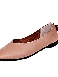 cheap -Women's Flats Flat Heel Square Toe PU Comfort Summer Light Brown / White / Beige