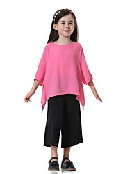 cheap -Kids Girls' Active Basic Street chic Daily Sports Beach Solid Colored 3/4 Length Sleeve Regular Clothing Set Light Green