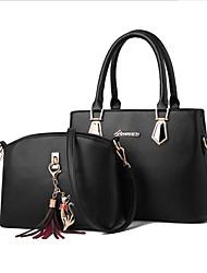 cheap -Women's Zipper PU Bag Set Bag Sets 2 Pieces Purse Set Black / Brown / Wine