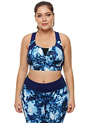 cheap -Women's Sports Bra Top Bra Top Running Bra Seamless Spandex Zumba Yoga Running Plus Size For Large Breasts Breathable High Impact Freedom Padded High Support Blue Print / Stretchy / Skinny