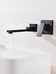 cheap -Bathroom Sink Faucet - Widespread /  Design Black Wall Mounted Single Handle Two HolesBath Taps