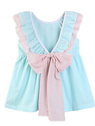 cheap -Baby Girls' Active / Basic Daily / Holiday Solid Colored Bow Short Sleeve Short Regular Above Knee Dress Light Blue / Toddler