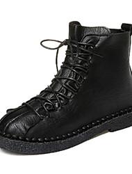 cheap -Women's Boots Fashion Boots Flat Heel Round Toe PU Fall Black / Dark Brown