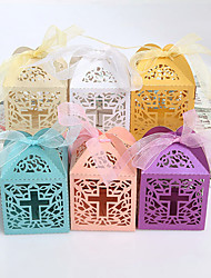cheap -Cuboid Card Paper Favor Holder with Ribbons Favor Boxes - 12pcs