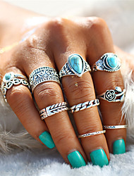 cheap -Couple's Ring Nail Finger Ring Midi Ring Turquoise 10pcs Gold Silver Alloy Geometric Drops Oval Statement Ladies Unusual Evening Party Carnival Jewelry Retro Hollow Out Artisan Leaf Heart Flower Cool