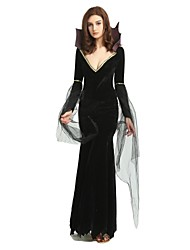 cheap -Witch Costume Women's Adults' Halloween Halloween Carnival Masquerade Festival / Holiday Polyster Outfits Black Solid Colored Halloween