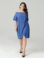 cheap -Women's Going out Slim A Line Dress Boat Neck Blue Black Wine XL XXL XXXL / Sexy