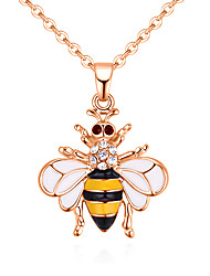 cheap -Women's Pendant Necklace Stylish Bee Ladies European Fashion Cute Rhinestone Alloy Yellow Red 40 cm Necklace Jewelry 1pc For Causal