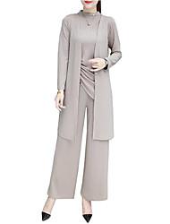 abordables -Femme Sortie Grandes Tailles Actif / Sophistiqué Coton Ample Set - Couleur Pleine, Plissé / Ample Pantalon Col Ras du Cou / Printemps / Automne