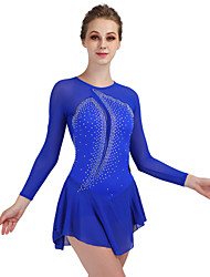 cheap -Figure Skating Dress Women's Ice Skating Dress Royal Blue Stretchy Training Competition Skating Wear Quick Dry Anatomic Design Classic Sexy Long Sleeve Ice Skating Outdoor Exercise Figure Skating