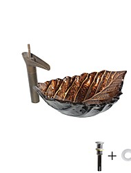 cheap -Bathroom Sink Faucet /Leaf Shaped Bathroom Mounting Ring Contemporary / Antique - Tempered Glass Rectangular Vessel Sink