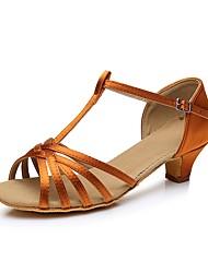 cheap -Girls' Dance Shoes Satin Latin Shoes Heel Cuban Heel Customizable Black / White / Gold / Leather