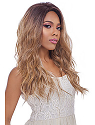 cheap -Synthetic Wig Wavy Middle Part Wig Black / Blonde Long Black / Strawberry Blonde Synthetic Hair 24 inch Women's Heat Resistant Ombre Hair Middle Part Black / Blonde
