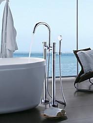 cheap -Bathtub Faucet - Contemporary Chrome Free Standing Ceramic Valve Bath Shower Mixer Taps / Single Handle Two Holes