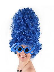 Недорогие -Парики из искусственных волос Маскарадные парики Кудрявый Стиль Стрижка боб Машинное плетение Парик Чистый синий Синий Искусственные волосы 24 дюймовый Жен. Косплей Для вечеринок Горячая распродажа