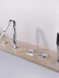 cheap -Bathtub Faucet - Contemporary Chrome Widespread Ceramic Valve Bath Shower Mixer Taps / Three Handles Five Holes